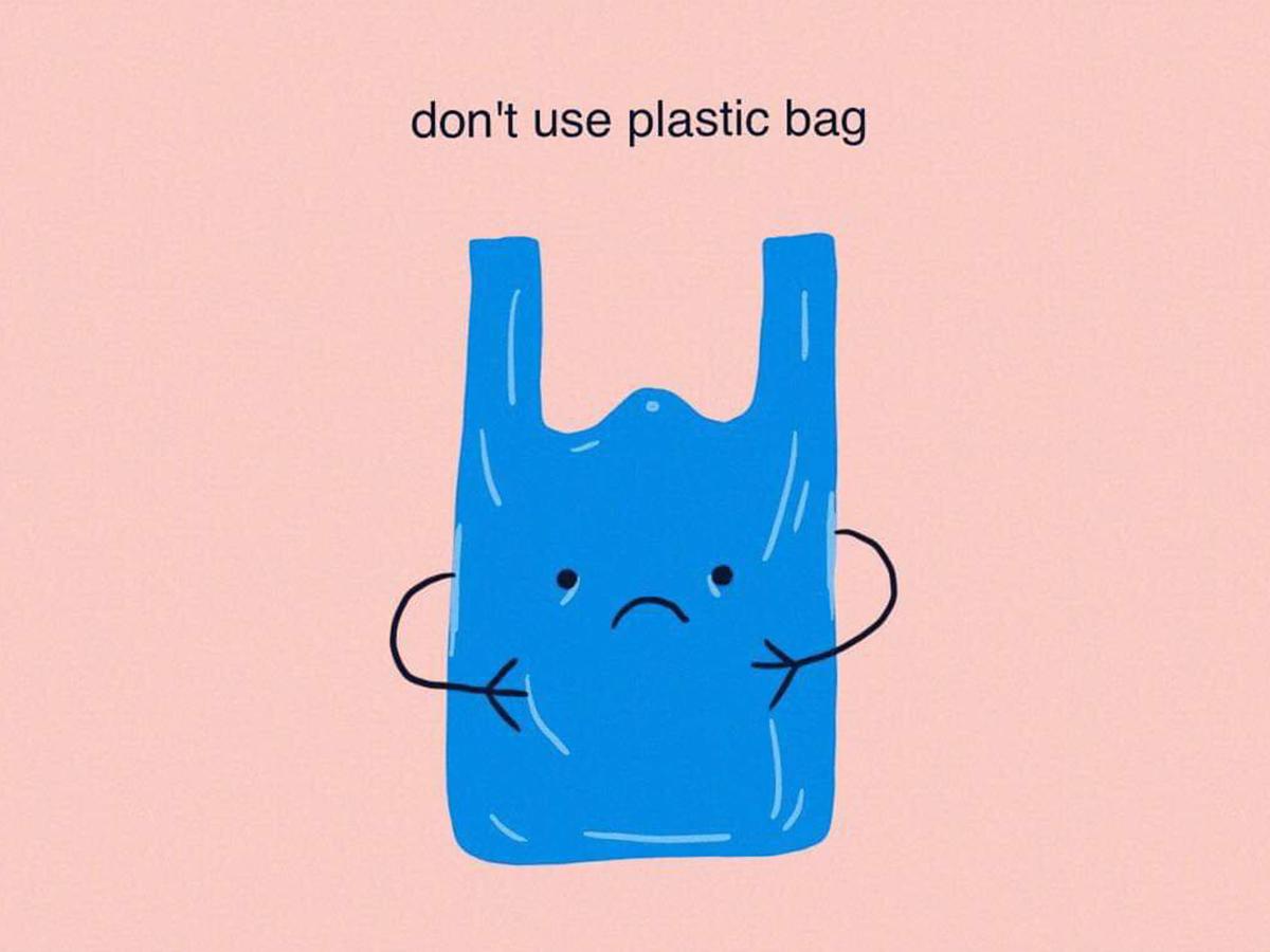 Don't use plastic bag zerowaste sustainable plastic bag flat illustrator flatart flatdesign procreate illustrator design digital art draw drawing illustration