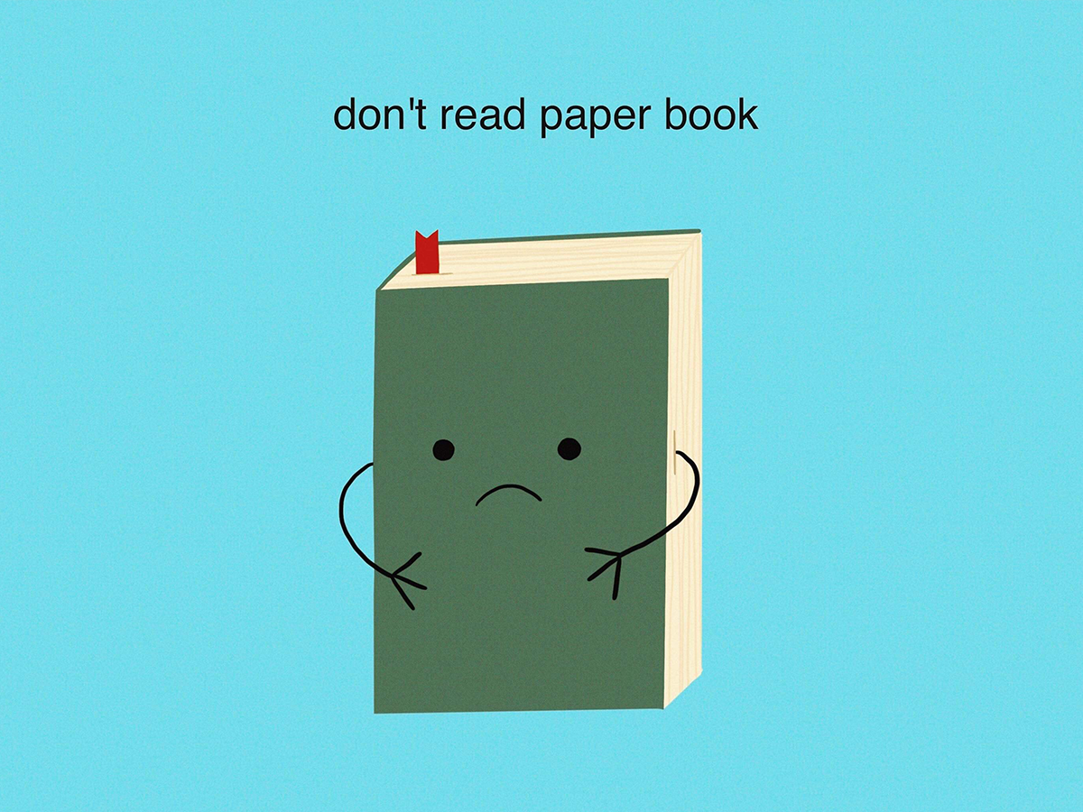 Don't read paper book books book paperbook ipadpro 2d art 2d zerowaste sustainable procreate flatdesign illustrator design digital art draw drawing illustration