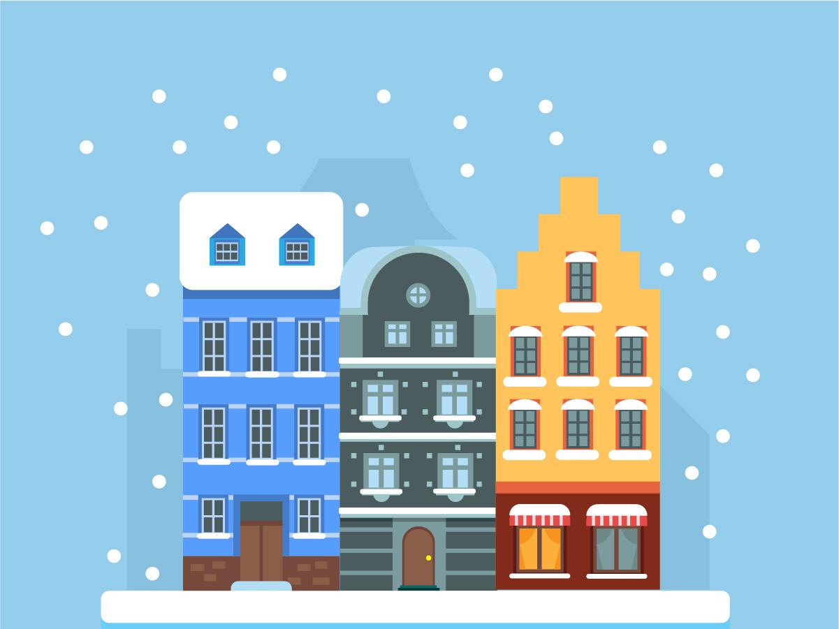 Chirstmas House house illustration winter flat  design