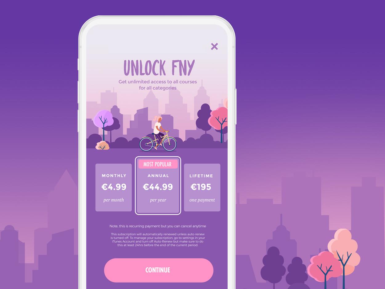 FNY Payment Wall Design branding ux ui app design