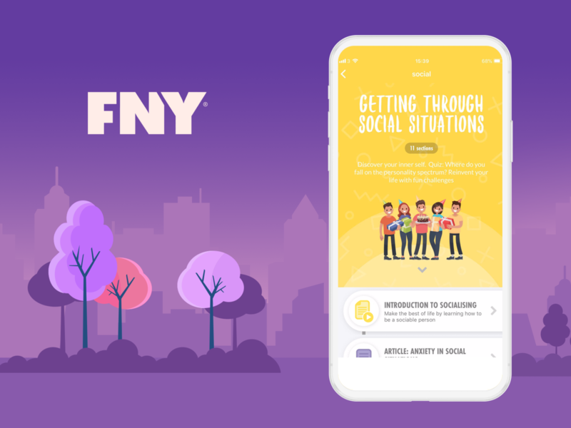 FNY Course page header product ui ux app design branding