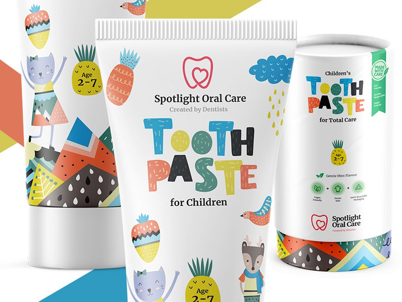 Childrens Toothpaste packaging product branding logo