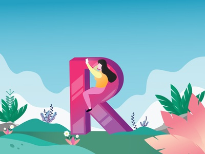 "illustration R ,for initial ""R"" dribbble"