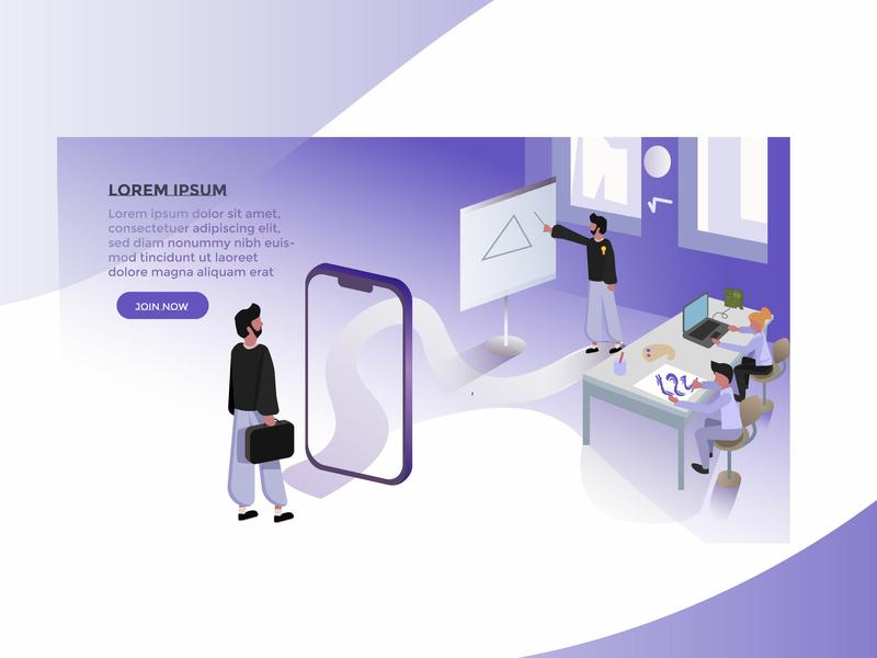Art School Semi Isometric Website Hero Illustration by Simo