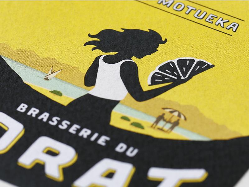 "Label ""La Motueka"" - Brasserie du Jorat label illustration art direction beer branding graphic design"