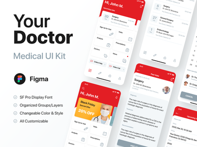 Your Doctor UI Kit figma uikit health app healthcare doctor clinic medical app ios ui android interface design