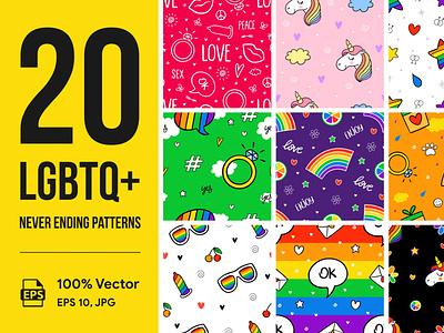 20 LGBTQIA+ Never Ending Patterns wedding dating love vectorart print bedding art background pattern neverending lgbtqia illustration design