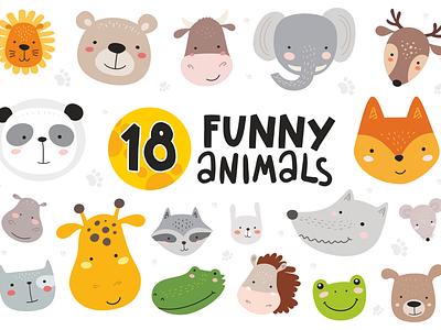 18 Animal Faces + 10 Patterns fashion nature forest pets bedding dresses kids print background neverending pattern art animals vector design