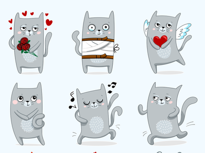 14 Cats Rule Vector Stickers telegram skype viber whatsapp chat emotions lovecat sticker kitten cat design illustration vector