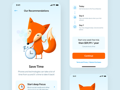 UI Design for App that blockes Internet Traffic time safe distraction ux illustration ios ui interface design