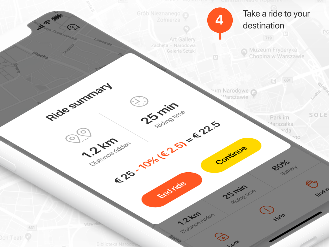 MigMig App UI (iOS & Android) electric tricycle way road startup app ride rent scooter mobile design iphone ios android ui interface
