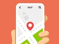 Hand holds the smartphone with navigation service