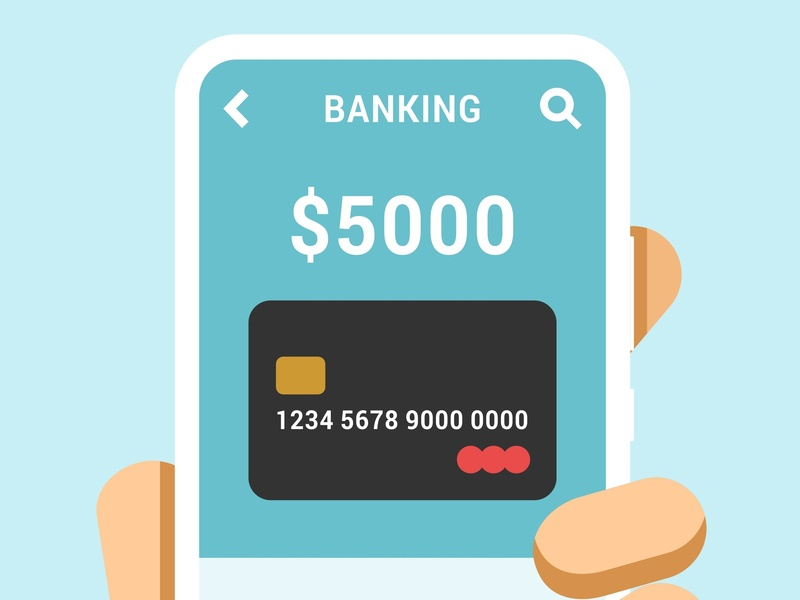 Hand holds the smartphone banking app platinum credit card business money mockup app samsung xiaomi huawei vector illustration finance android ios mobile ui interface design