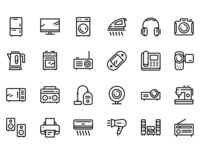 48 Household Electronic Appliances, Device Icons Set