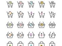 30 Seamless shopping cart, basket and bag icons set