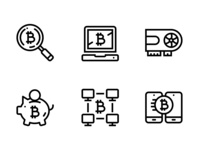 Cryptocurrency, Blockchain, Bitcoin Mining, Digital Money Icons