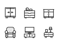 Furniture, Decor, Interior Vector Simple Icons