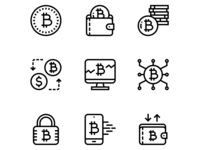 Cryptocurrency, blockchain, digital money vector simple icons