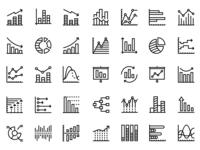 45 Data analysis, chart, diagram icons