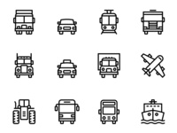 28 Transport, Vehicle, Truck and Car Simple Icons