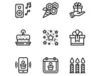 Birthday, Event, Celebration Icons