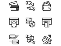 Payment, money, finance, card and cash icons