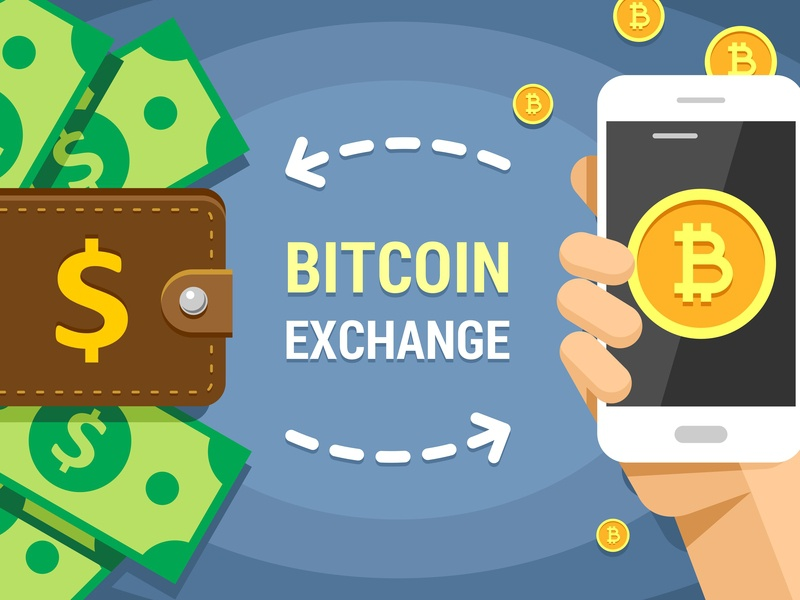 Vector Illustration of Cryptocurrency Bitcoin Exchanging dollar money device digital wallet exchange bitcoin exchange bitcoins bitcoin electronic finance business illustration vector design