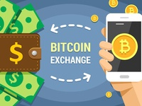 Vector Illustration of Cryptocurrency Bitcoin Exchanging