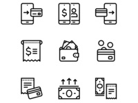 Payment, money, finance, card and cash icons set 2