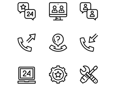 Support, service, help simple line icons