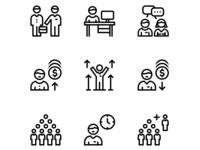 Business People, Meeting, Team Work Icons