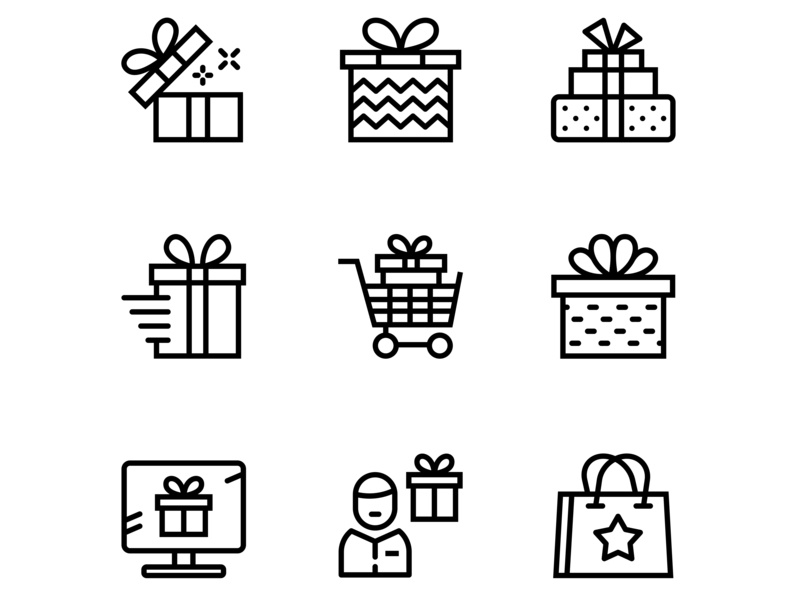 Gift, Present, Surprise Vector Icons sign set ribbon present pictogram packaging package outline line knot isolated illustration icon holiday gift event celebration box bow birthday