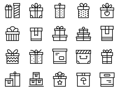 25 Thin vector box icons with ribbons anniversary birthday day birth star heart ribbon greeting party celebration celebrate pack gift present container carriage package box icons