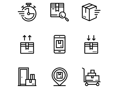 Delivery, Shipment, Cargo Icons Set 3 shipping shipment set search pin phonebox packaging package outline logistics linear line industry icon door delivery container carriage cargo box