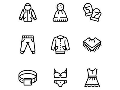 Clothes, fashion, accessories and wear icons set 3 hoodie swim underwear belt hat dress accessories fashion wear clothes mobile web vector icons set