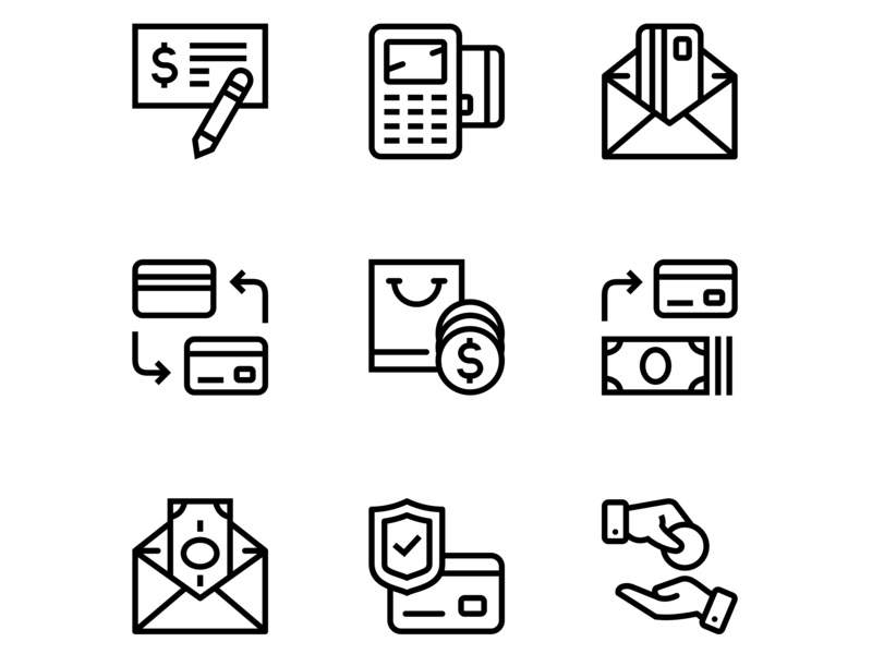 Payment, money, finance, card and cash icons set 3 by Vladimir