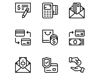 Payment, money, finance, card and cash icons set 3 coins terminal exchange dollar money check protect cash credit card icons finance business mobile vector interface
