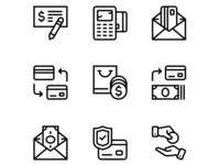Payment, money, finance, card and cash icons set 3