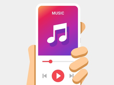 Hand holds the smartphone with music player application flat play buttons iphone android ios slider player sound music mockup hand smartphone illustration mobile interface design