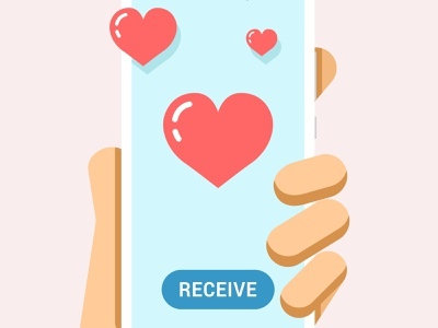 Hand holds the smartphone with many hearts on the screen iphone smartphone phone love heart send receive message vector illustration ios android mobile design