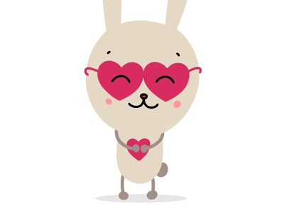 Cute bunny in glasses with red heart relationship couple greetingcard smile glasses love heart funny rabbit bunny cute illustration vector