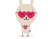 Cute bunny in glasses with red heart