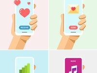 Phone in Hand Mock-Up Flat Vector Set 5