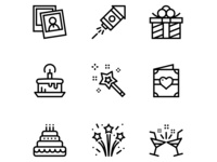 Birthday, Event, Celebration Icons Set 2