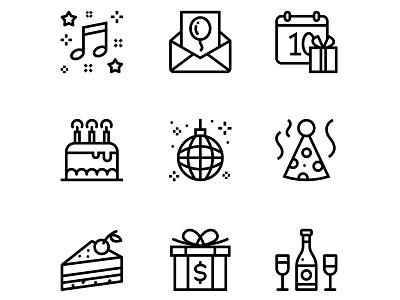 Birthday, Event, Celebration Icons Set 3 music mail line holiday hat happy gift fun flat event enjoy disco date champagne celebration celebrate calendar cake birthday birth