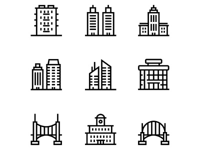 Building, Real Estate, House Icons Set 5 skyscraper simple shop residential real property old modern line icon house home estate construction cityscape city building bridge architecture apartment