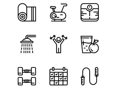 Workout, Fitness, Gym Icons Set 3 nutrition mat line jump rope juice icon healthy health gym flat fitness fit exercise equipment dumbbell diet cycle track calendar bottle athletic