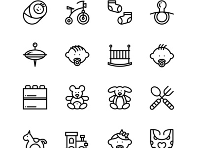 Baby, Care, Toys Icons Set 2
