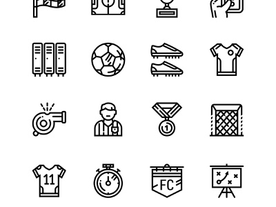 Soccer, Football, Sport Icons shoes set score referee player packaging outline medal icon goal gate game football flag field cup championship card boots ball