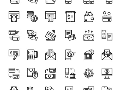 Set of 24 Payment, money, finance, card icons